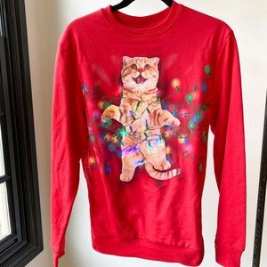 CHRISTMAS SWEATER light up red cat by fifth sun